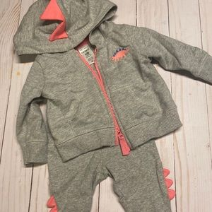 Infant pink dino sweatsuit outfit